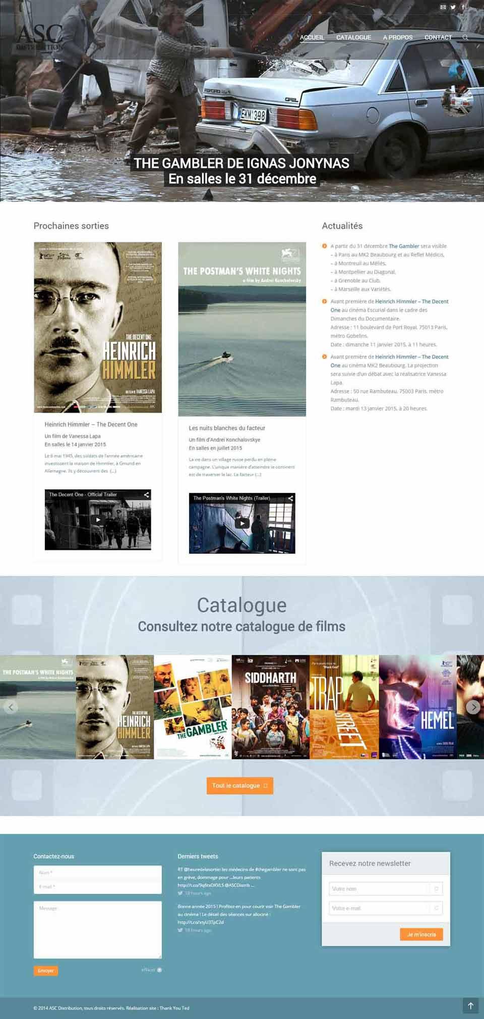 Page d'accueil du site ASC Distribution