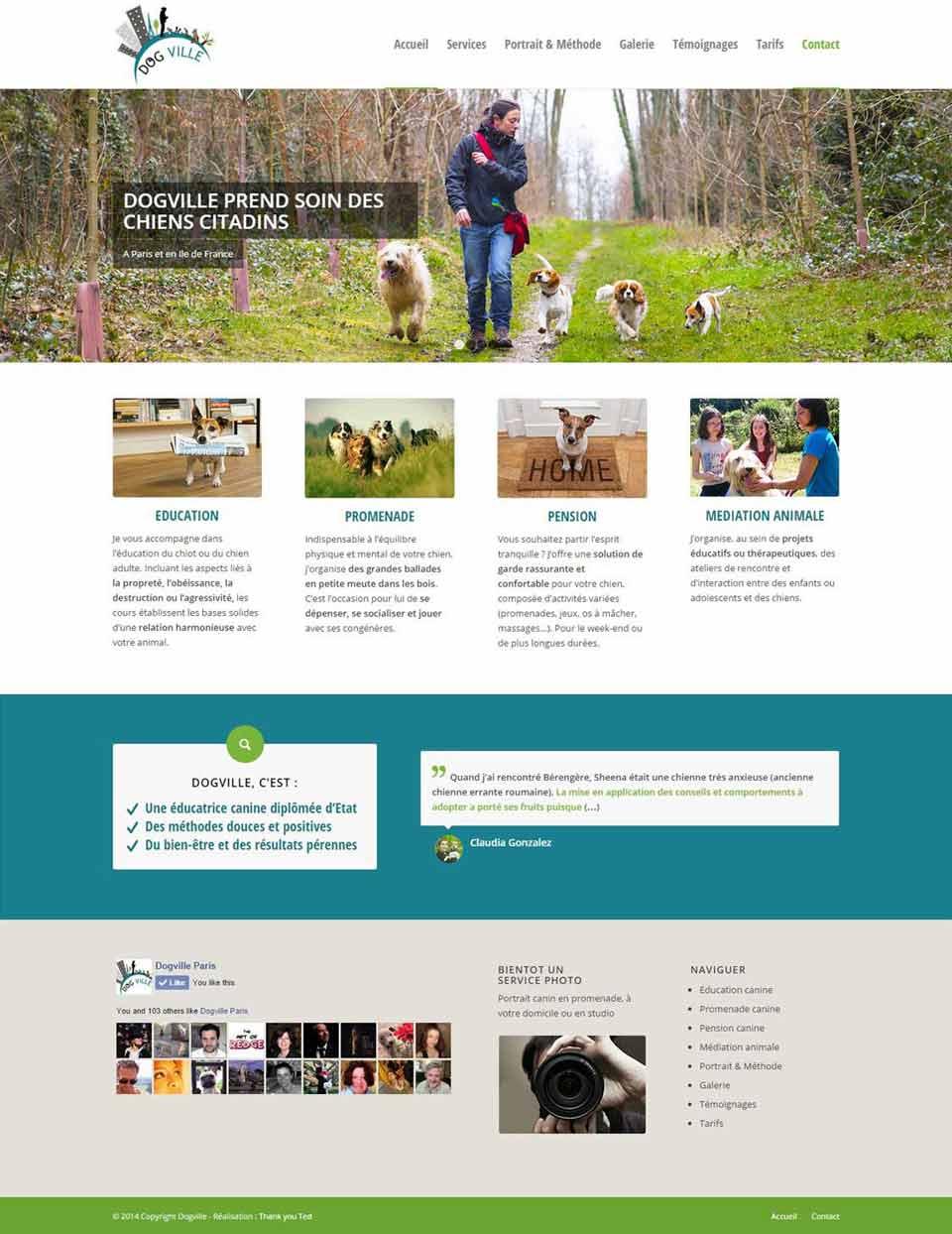 Page d'accueil du site de Dogville