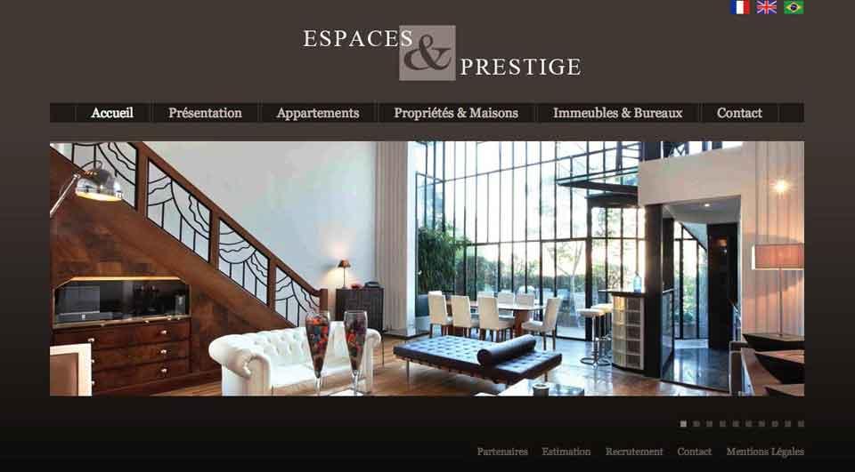 Page d'accueil de Espaces et Prestige