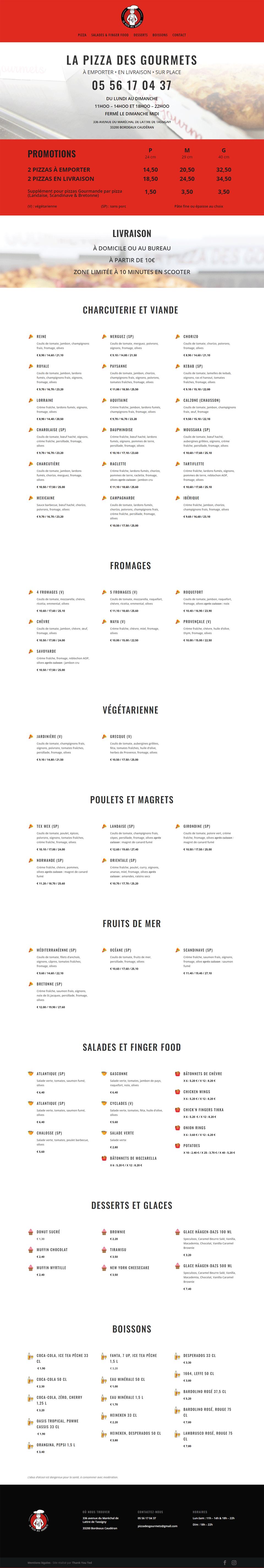 Page d'accueil de la Pizza des Gourmets