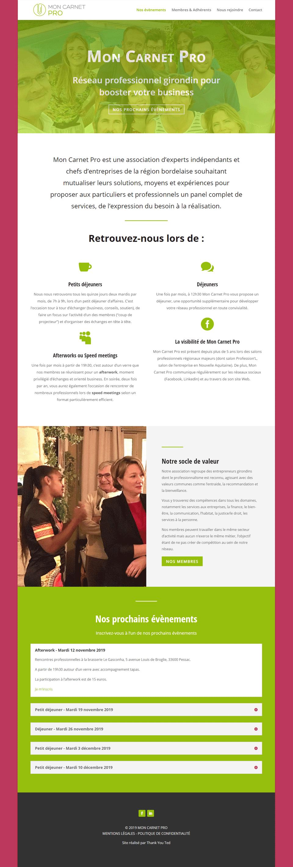 Page d'accueil de Mon Carnet Pro