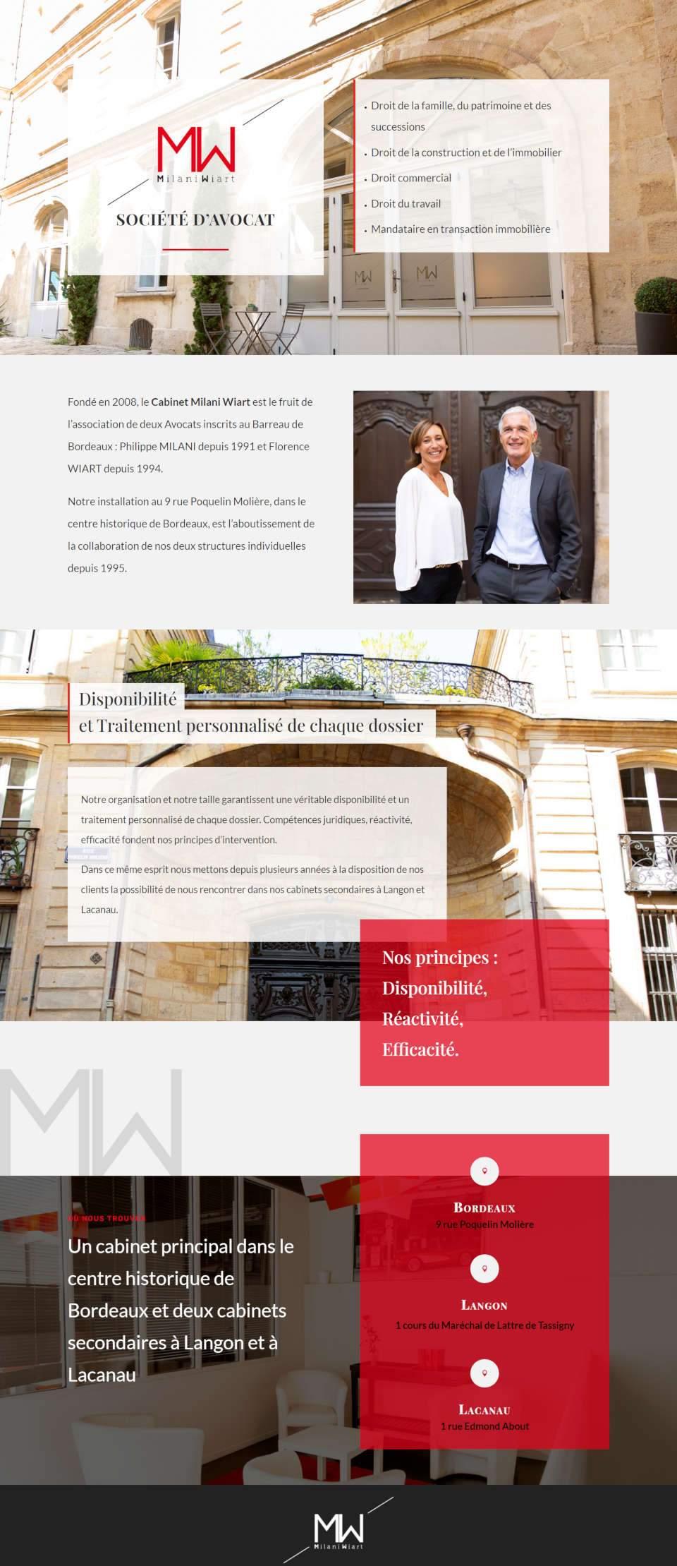page d'accueil du site internet Milani Wiart à Bordeaux